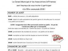 programme fête communale de LOFFRE 2018