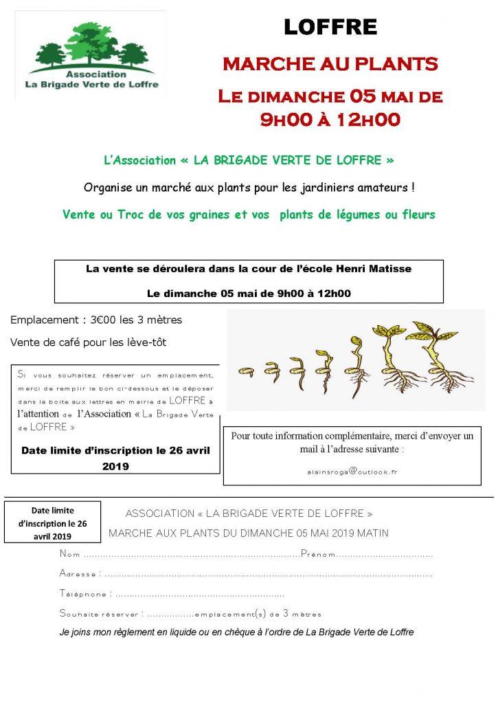 flyer marché aux plants la brigade verte de LOFFRE 2019 en couleur
